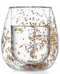 Cтакан с двойными стенками со звездочками для кофе и чая стеклянный 330 мл