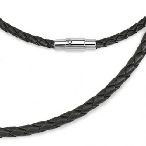 Плетёный кожаный шнур на шею (чокер) для кулонов 3 мм 55 см SPIKES SN9027-3K
