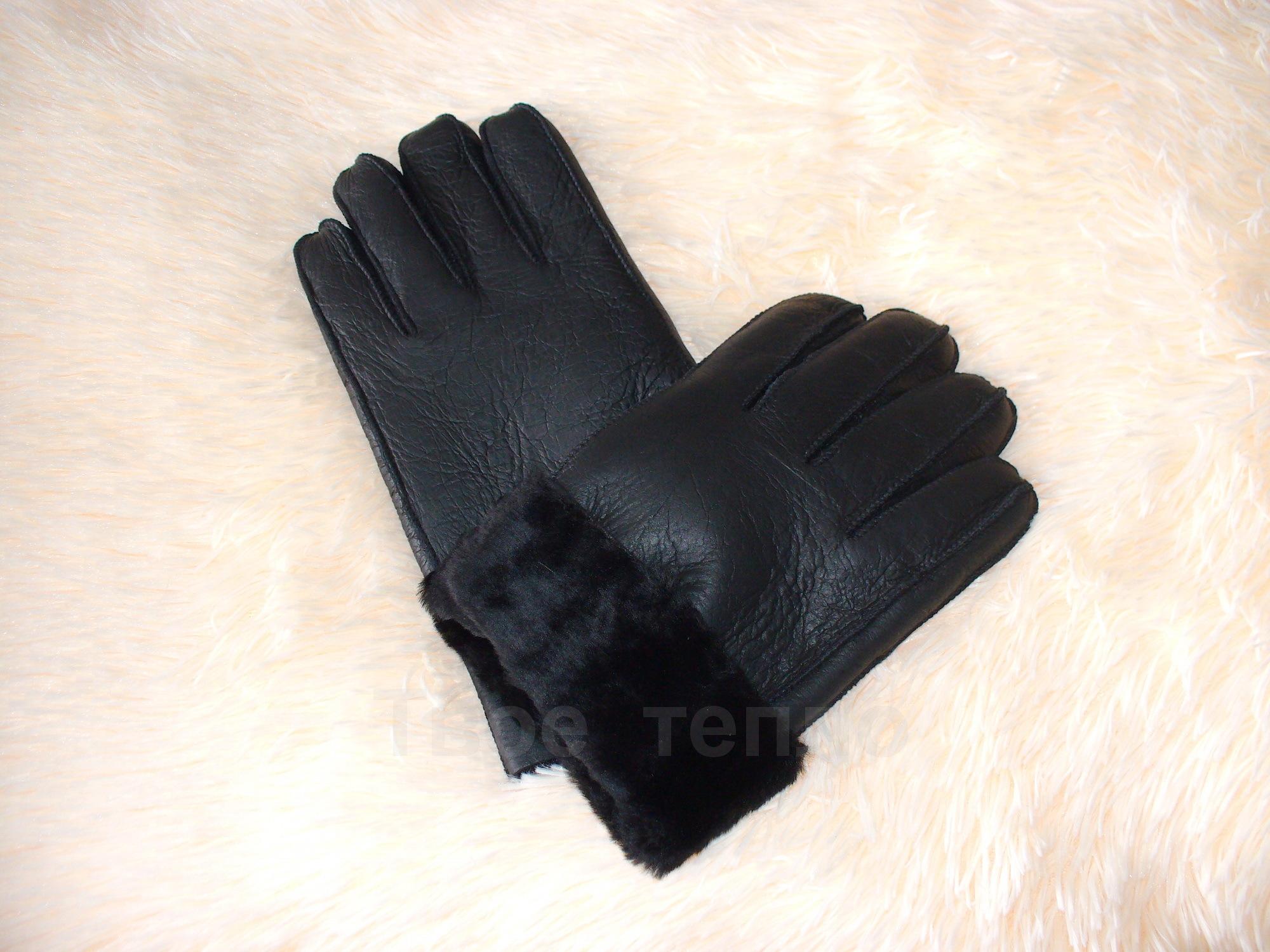 Мужские перчатки из дубленой кожи