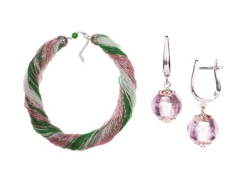 Комплект украшений розово-зеленый №2 (серьги-бусины, ожерелье из бисера 48 нитей)