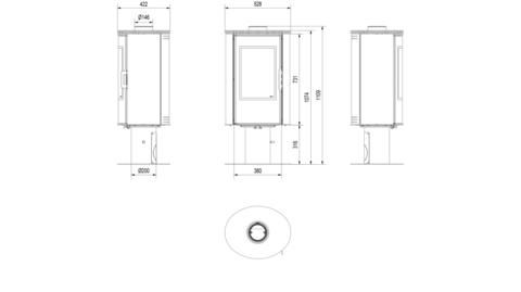 Печь-камин Kratki KOZA/AB/S/N/O/GLASS/ KAFEL/BIALY (сталь, кафель белый, поворотная) Под заказ