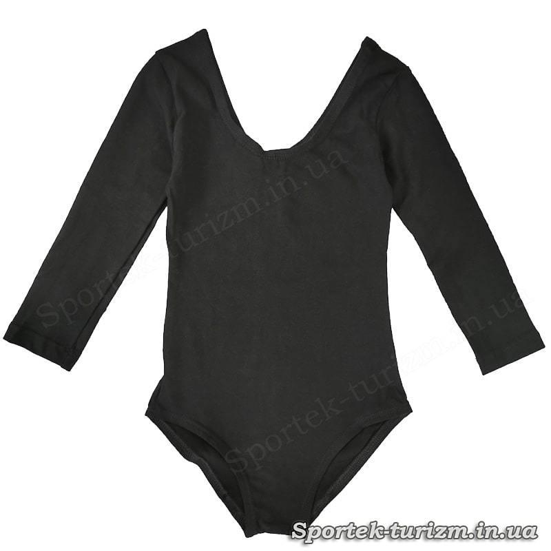 Детский спортивный черный боди с длинным рукавом для танцев и гимнастики