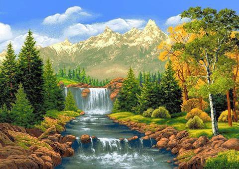 Алмазная Мозаика + Багет 30x40 Водопад в горах