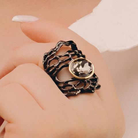 Кольцо с серым кристаллом, черное родирование (итал. замок)