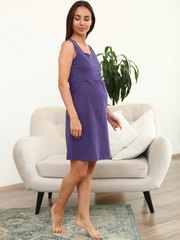 Мамаландия. Сорочка для беременных и кормящих с кнопками, синий/розовый горох