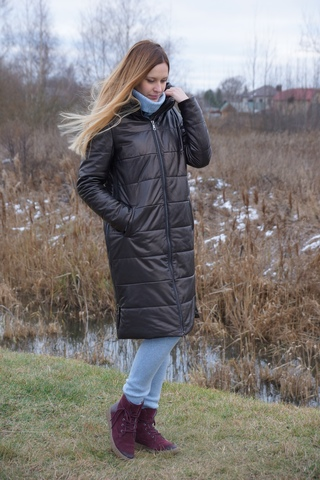 Кожаное пальто зимнее New Style