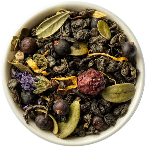 Зеленый чай с клюквой и брусничным листом