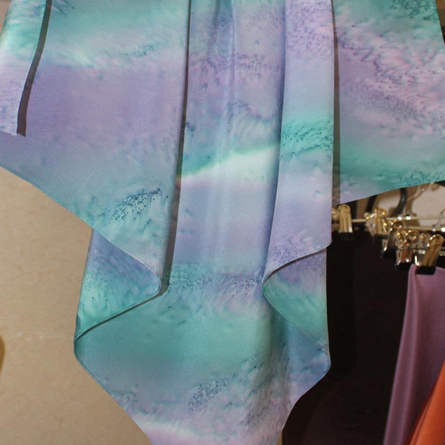 Шелковый платок батик Радужный Море-соль С-56