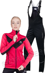 Женский утеплённый лыжный костюм Nordski Base Pink-Black с высокой спинкой