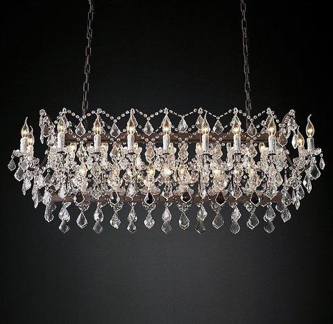 Подвесной светильник копия 19th C. Rococo Iron & Clear Crystal Rectangular Chandelier 63