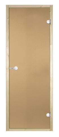 Дверь стеклянная Harvia 7х19, коробка осина, стекло бронза, артикул D71901H