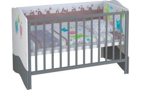 Кроватка детская Polini kids Basic Монстрики 140х70 белый-серый