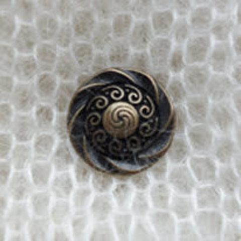 Пуговица металлическая на ножке, кельтские узоры, цвет состаренная латунь, 15 мм