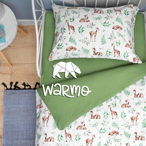 дитяча постіль з оленями на зеленому фото