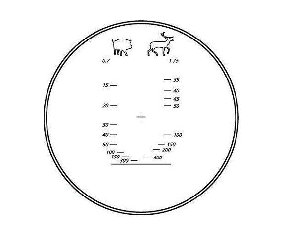 Дальномерная сетка бинокля Юкон Про 8х 40 WA