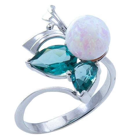 Кольцо из серебра с опалом и турмалином параиба Арт.1152о параиб