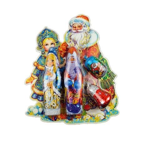 Новогодний набор в блистере: Дед Мороз , Снегурочка , нов.фигурка , колокольчик 1кор*1бл*12шт, 110гр