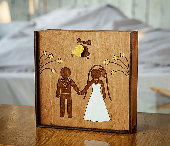 BOX251-2 Коробка для подарка на свадьбу из дерева (17*17*7 см) фото 04
