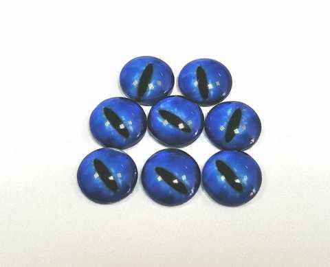 Глазки стеклянные,  8мм, синие 1уп-8шт. (1154)