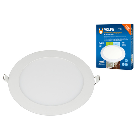ULM-Q236 18W/4000K WHITE Светильник светодиодный встраиваемый.  Белый свет (4000К). Корпус белый. ТМ Volpe.