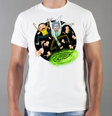 Футболка с принтом мультфильма Рик и Морти (Rick and Morty) белая 0011