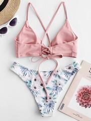 купальник раздельный с лямками нежно розовый с цветочным принтом Soft Pink 2