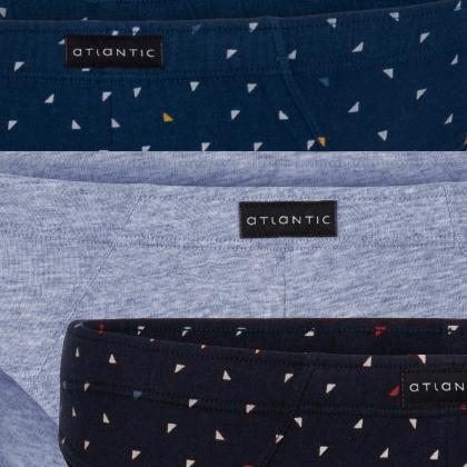 Мужские трусы слипы спорт Atlantic, набор 3 шт., хлопок, темно-синие + голубой меланж + деним, 3MP-084