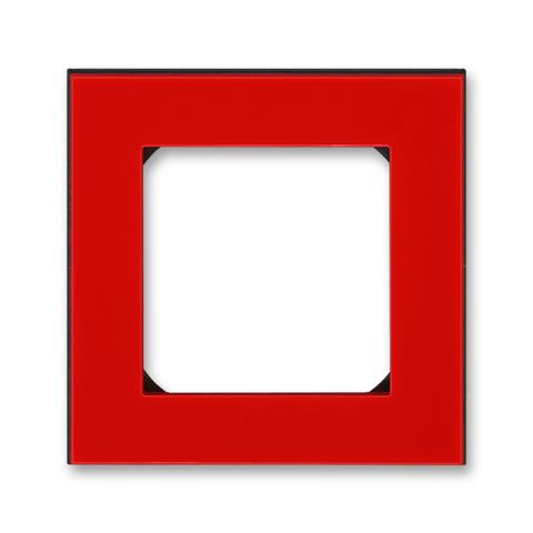 Рамка на 1 пост. Цвет Красный / дымчатый чёрный. ABB. Levit(Левит). 2CHH015010A6065
