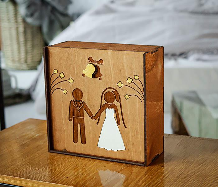 BOX251-2 Коробка для подарка на свадьбу из дерева (17*17*7 см) фото 05
