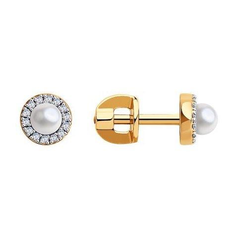 8020091 - Серьги из золота с жемчугом и бриллиантами
