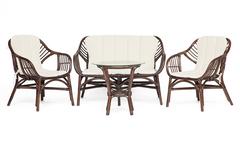 Комплект для отдыха Сонома (SONOMA) ( стол круглый (со стеклом)+2 кресла+диван )