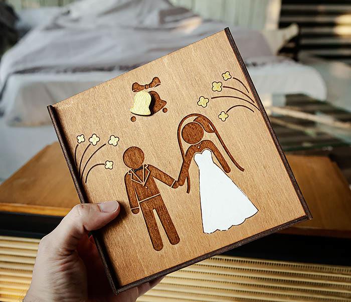 BOX251-2 Коробка для подарка на свадьбу из дерева (17*17*7 см) фото 06