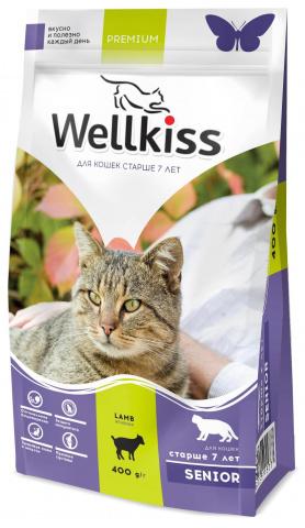 Wellkiss Senior корм для кошек в возрасте старше 7 лет, с ягненком 1,5 кг.