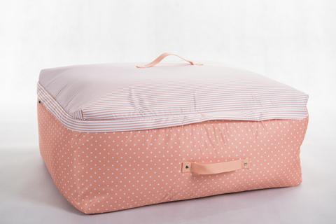 Мягкий супербольшой кофр для объемных вещей, XXL, 63*48*32 см (розовый в горошек)