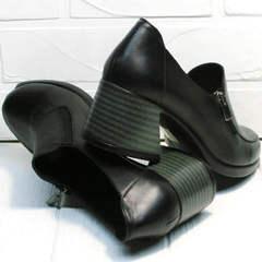 Удобные женские туфли на устойчивом каблуке демисезонные H&G BEM 107 03L-Black.