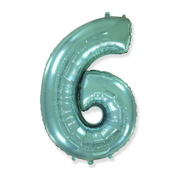 Фольгированная цифра 6, тиффани