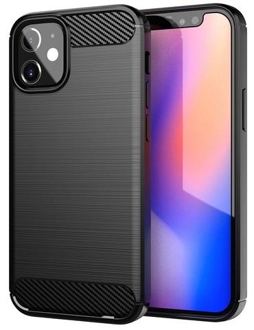 Чехол защитный черного цвета на IPhone 12 mini, серия Carbon от Caseport
