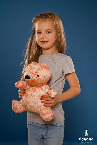 Подушка-игрушка «МиниМишка Вязаный», оранжевый-2
