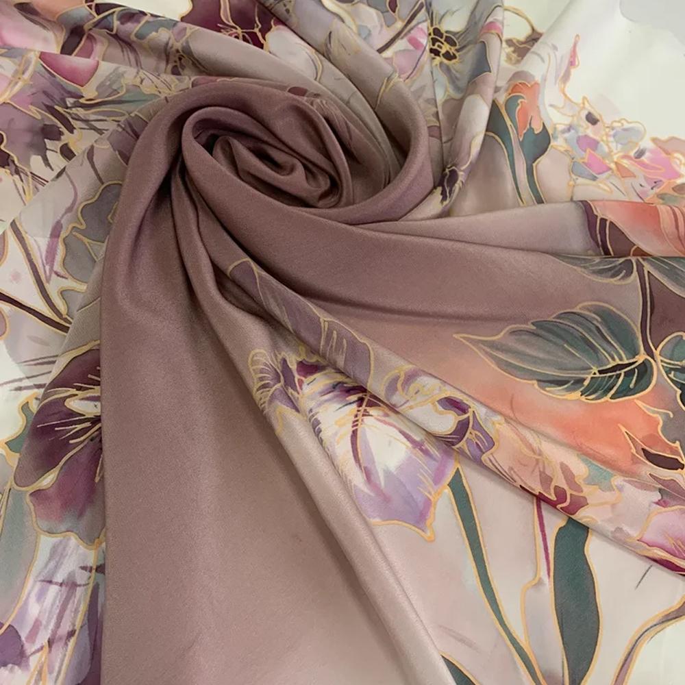 Шёлковый платок Вуаль Пионов С-60