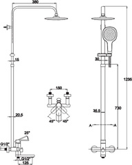 Душевая система KAISER Arena 33182 (овал)