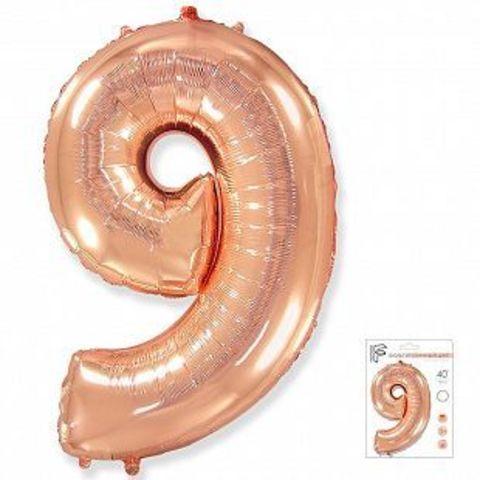 Цифра девять - розовое золото