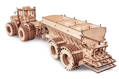 Прицеп к Трактору Кировец К-7М от EWA - Деревянный конструктор, сборная модель, 3D пазл