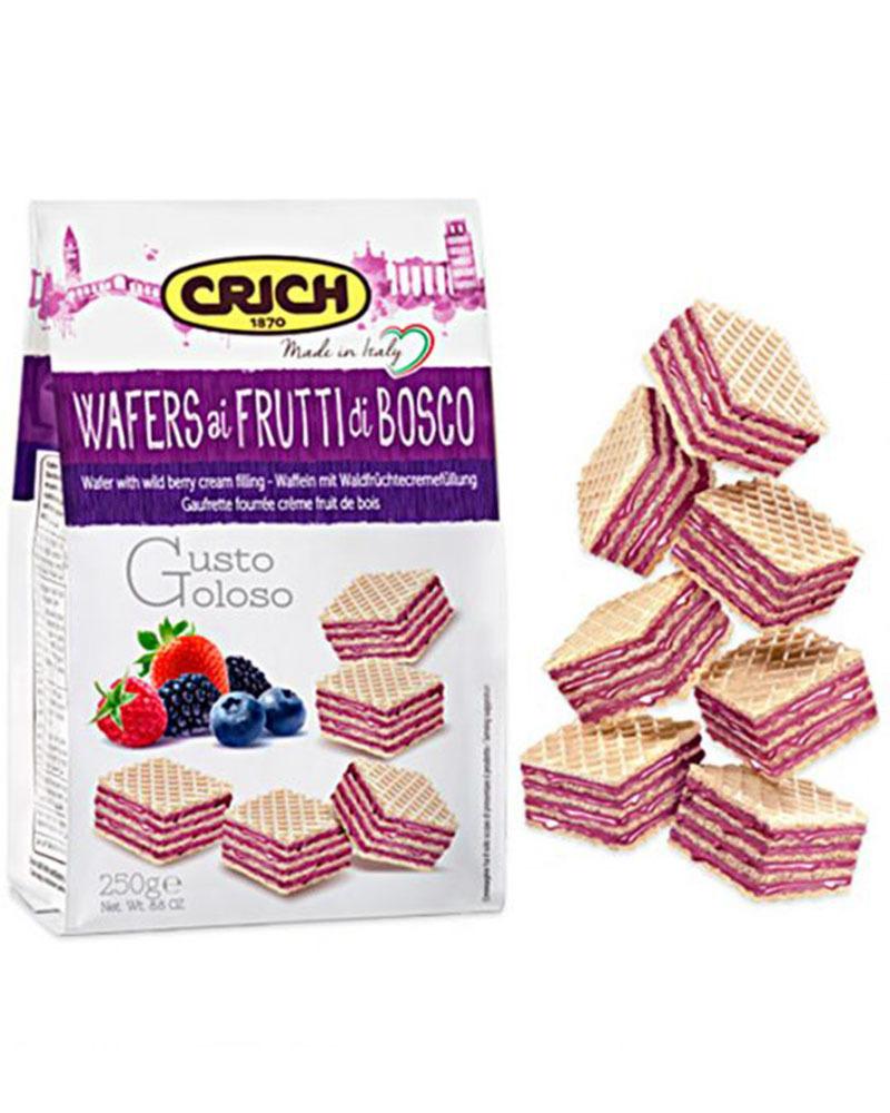 Вафли Crich с ягодно-кремовой начинкой, 250 гр.