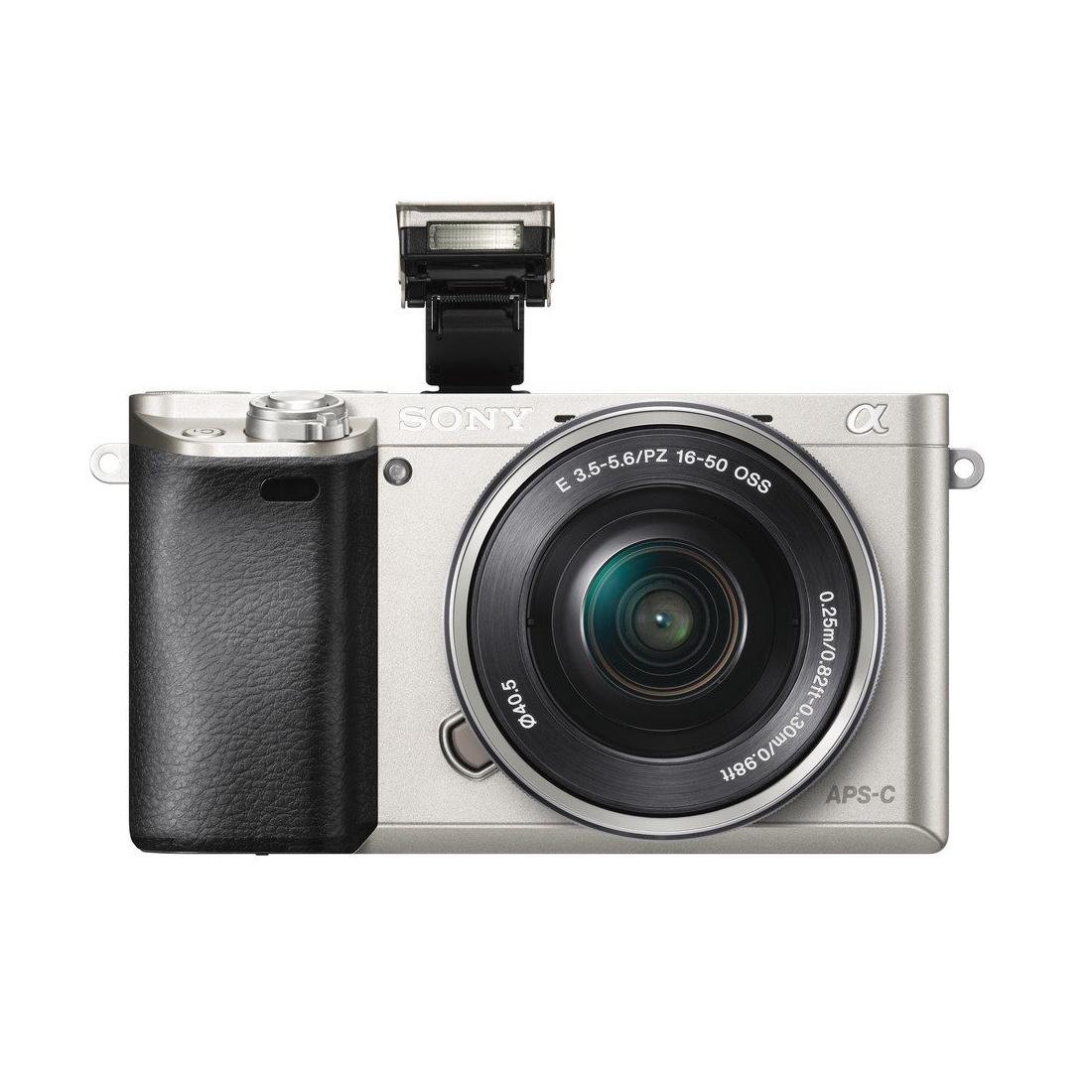 Фотоаппарат Sony A6000 серебристого цвета c китовым объективом SEL-P1650