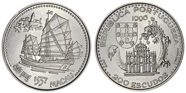 200 эскудо Португалия. Основание португальской колонии в Макао. 1996 год. UNC