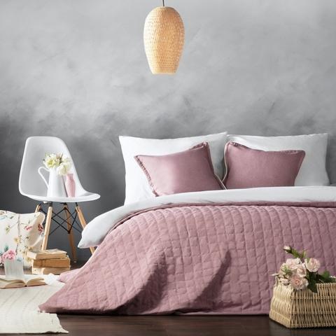 Комплект штор и покрывало рогожка Джейн розовый 7 предметов