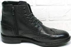 Турецкие ботинки мужские зимние с молнией LucianoBelliniBC3801L-Black .