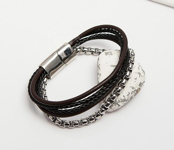 BM423 Необычный браслет из кожаных шнуров и стальной цепочки (20 см)