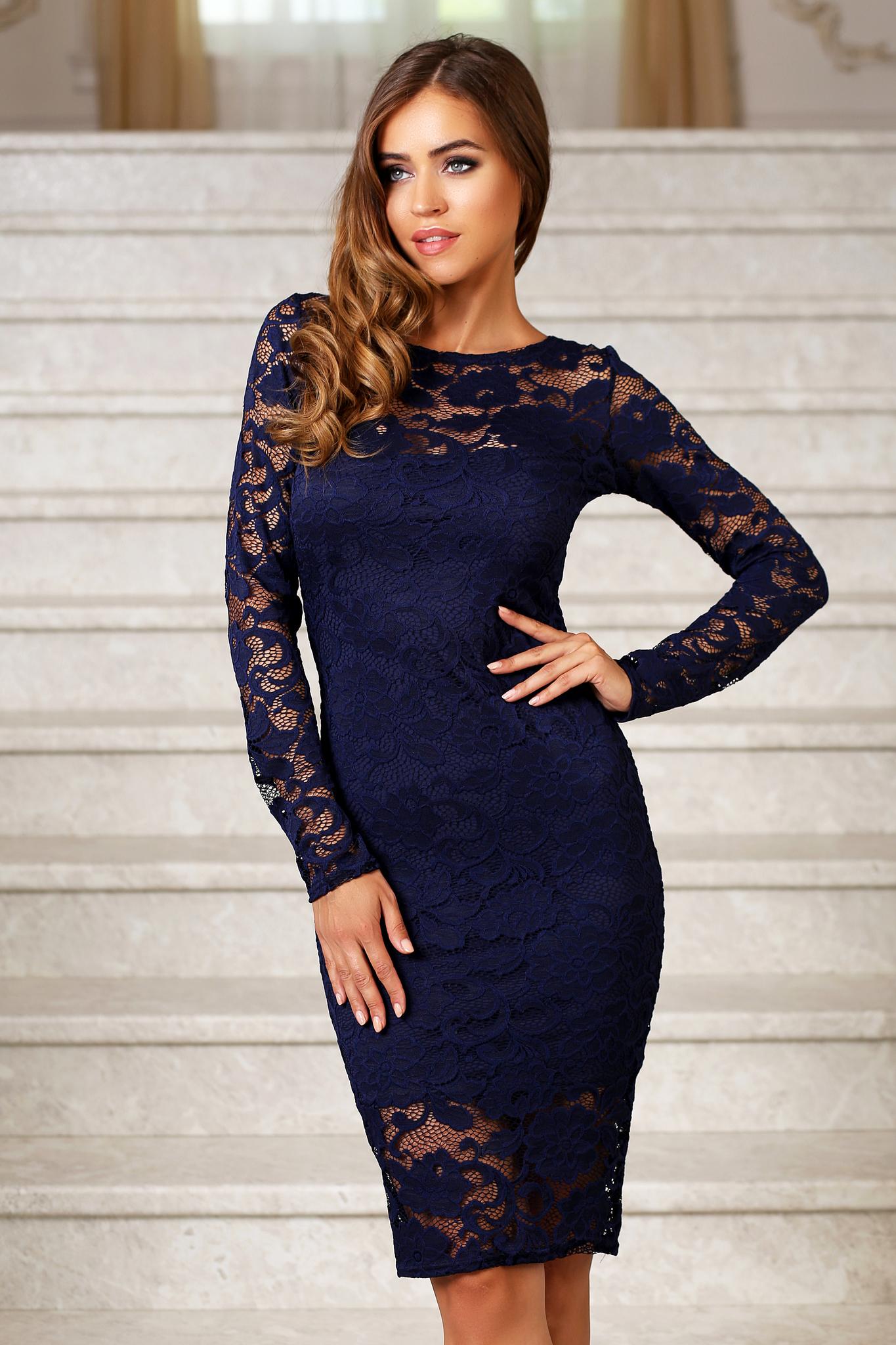 Кружевное миди платье-футляр с рукавами, темно-синее
