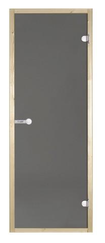 Дверь стеклянная Harvia 7х19, коробка осина, стекло серое, артикул D71902H